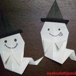 簡単!折り紙でハロウィン飾りの立体なおばけの折り方&作り方!帽子付